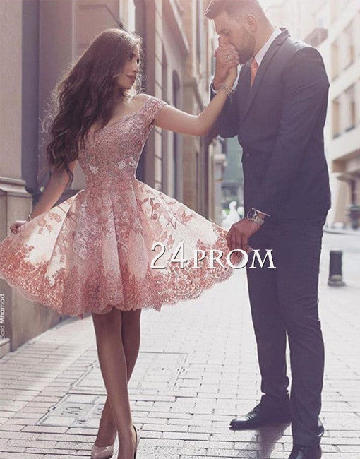 Custom made off shoulder lace short prom dress, cute homecoming dress