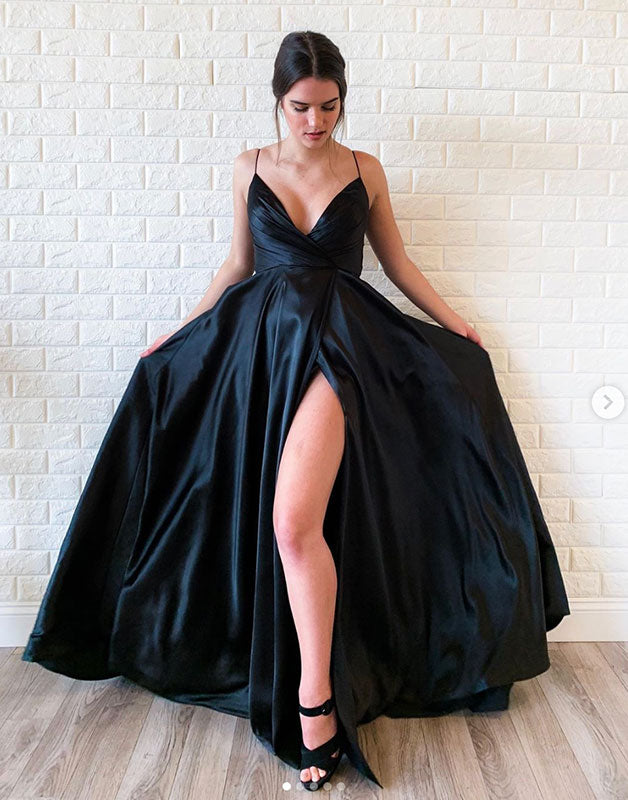 Simple black satin long prom dress black evening dress