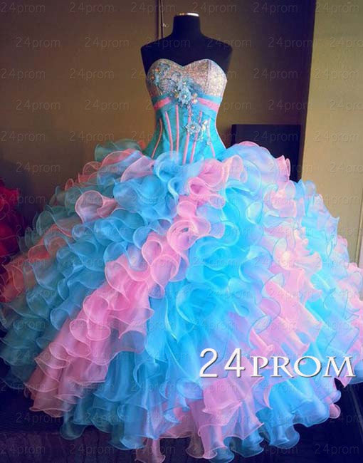 Sweetheart Ball Gown Ruffled Prom Dresses, Sweet 16 Dress