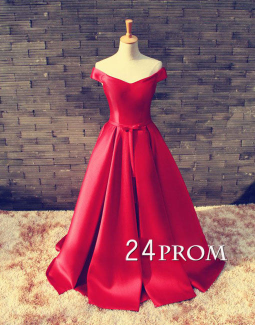 Red off shoulder satin Long Prom Dresses, Evening Dresses