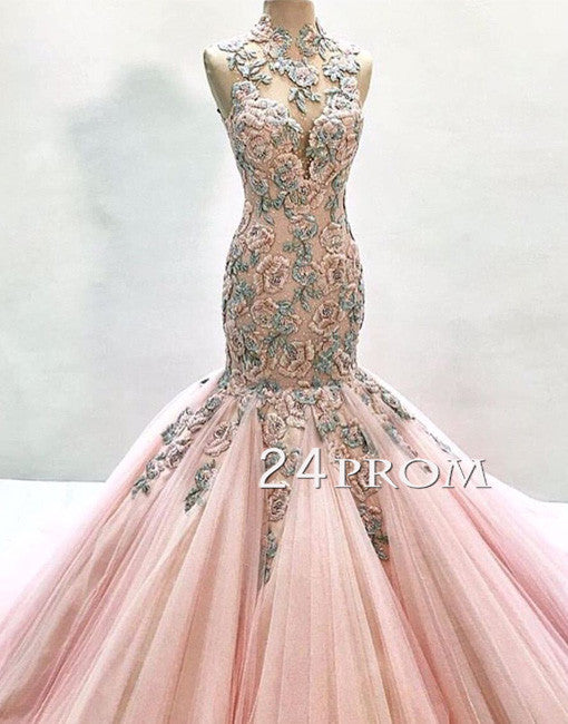Pink high neck tulle lace mermaid long prom gown, evening dress
