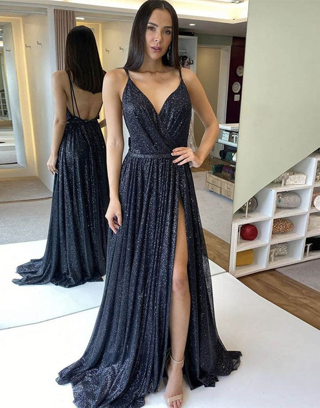 Unique v neck sequin long prom dress sequin evening dress