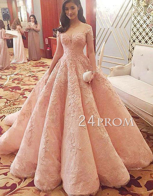 Custom made off shoulder lace long prom gown, formal dress