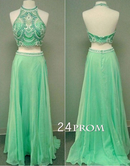 Green 2 Pieces Beaded Long Prom Dress, Formal Dresses