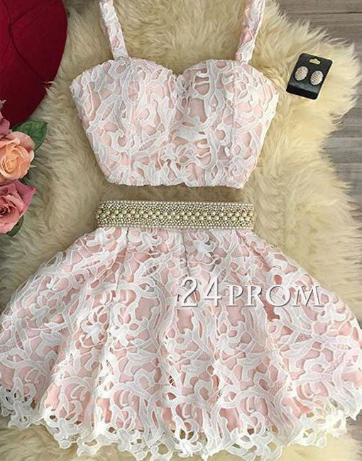 Cute pink two pieces lace short prom dress, pink homecoming dress
