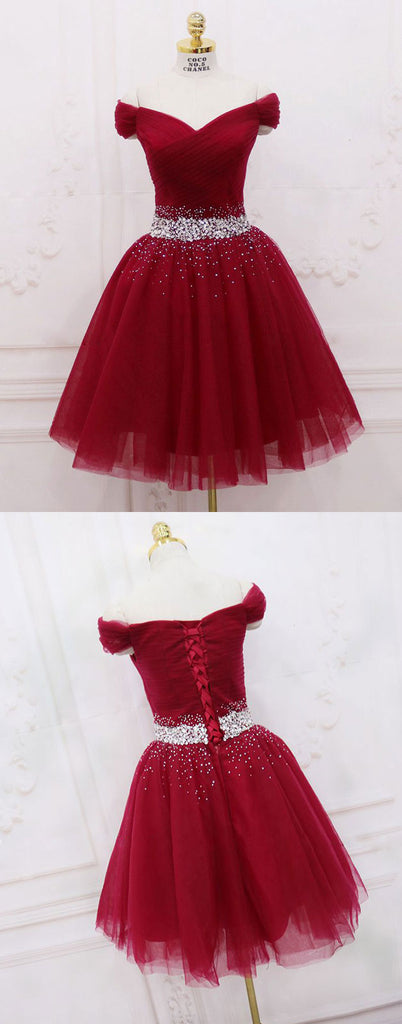 Burgundy tulle sequin off shoulder short prom dress. homecoming dress