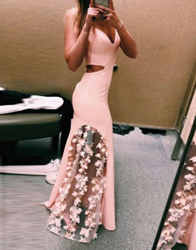Unique pink lace satin mermaid long prom dress, pink evening dress