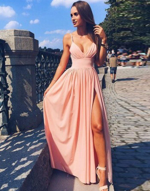 Pink v neck chiffon long prom dress, simple pink evening dress