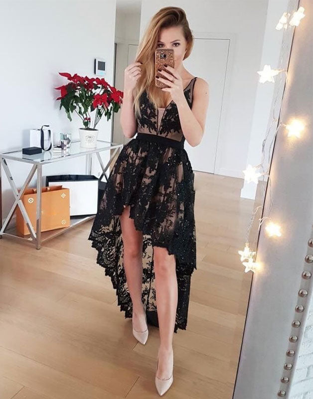 Black v neck lace high low prom dress, black lace evening dress