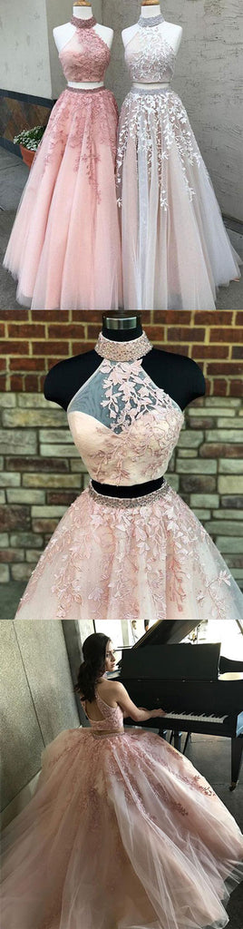 Custom made two pieces lace long prom dress, lace evening dress