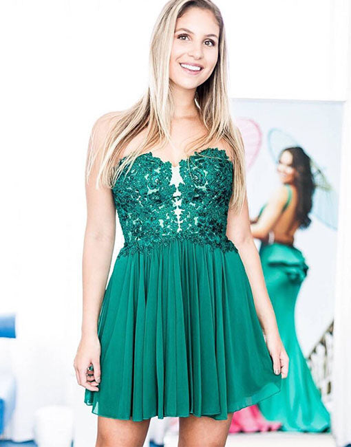 Green sweetheart neck tulle short prom dress, green homecoming dress