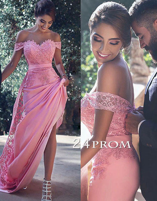 Unique Chiffon Lace Sweetheart Long Prom Dresses, Bridesmaid Dress