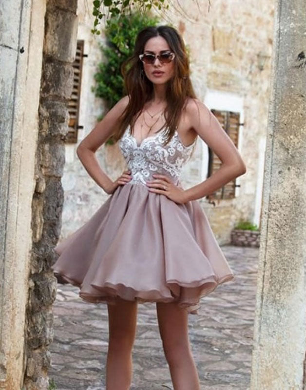 Cute sweetheart chiffon lace short prom dress. homecoming dress