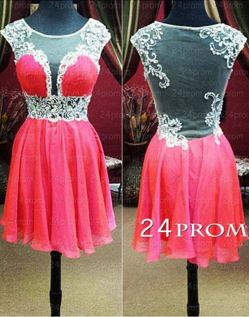 Red A-line Round Neckline Chiffon Short Prom Dresses, Homecoming Dresses