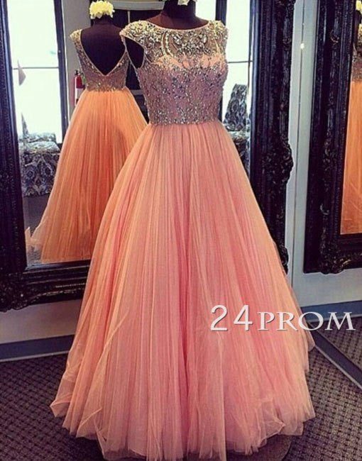 Round Ncke beading Tulle Long Prom Dresses, Evening Dress