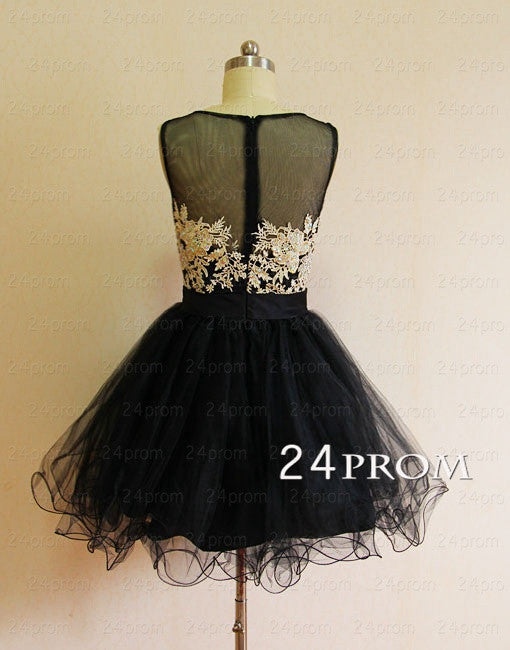 Black Tulle round neckline Short Homecoming Dresses, Prom Dresses