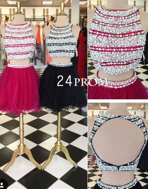 Cute round neck tulle two pieces short prom dress, homecoming dress