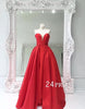 Custom made red sweetheart neck long prom dress, red evening dress