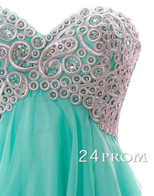 Sweetheart A-line Chiffon Short Green Prom Dresses, Homecoming Dresses