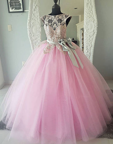 Pink round neck tulle lace beads long prom dress, pink evening dress