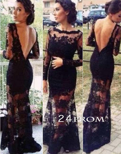 Black Backless Long Lace Prom Dresses, Formal Dress,Evening Dresses