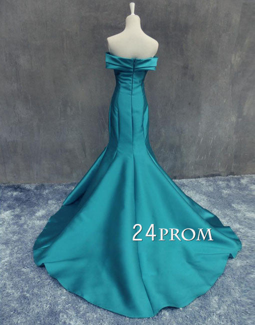 Unique sweetheart mermaid long green prom dress, evening dress