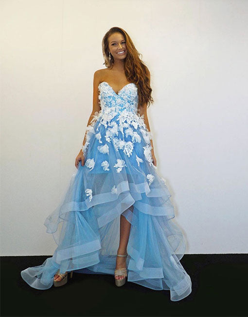 Blue tulle lace applique prom dress, blue evening dress