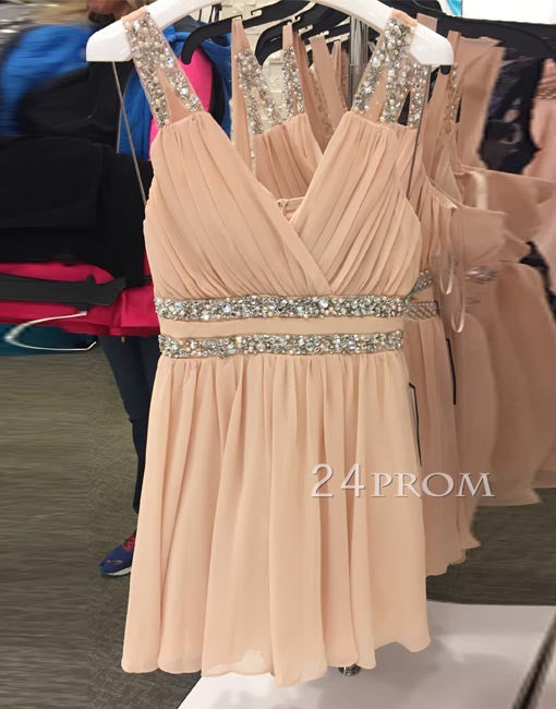 Simple A-line v neck short prom dress, homecoming dress