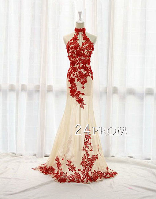 Custom Made Tulle Red Lace Long Prom Dress, Formal Dress