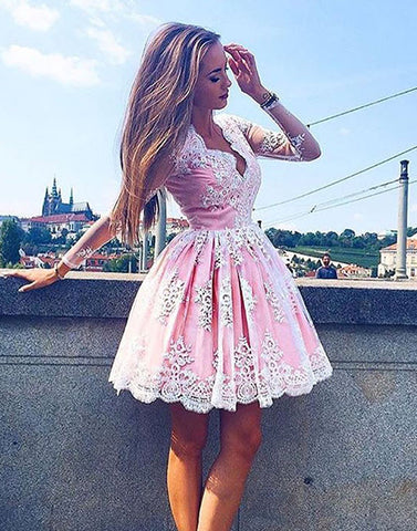 Cute pink lace short prom dress,pink homecoming dress