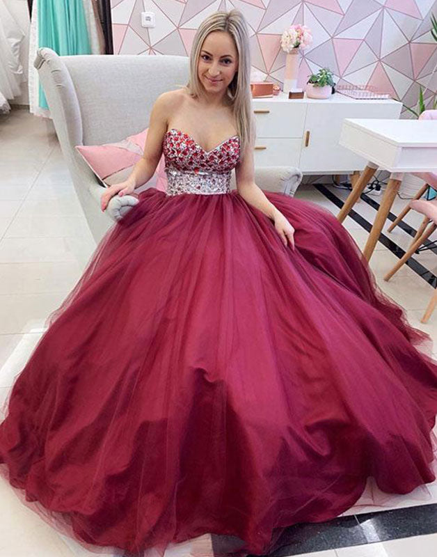 Unique sweetheart neck tulle beads long prom dress, tulle evening dress