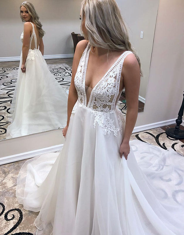 White v neck lace chiffon long prom dress, evening dress