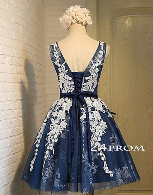 ad416489363 Cute Round Neck Lace Tulle Dark Blue Short Prom Dress Bridesmaid