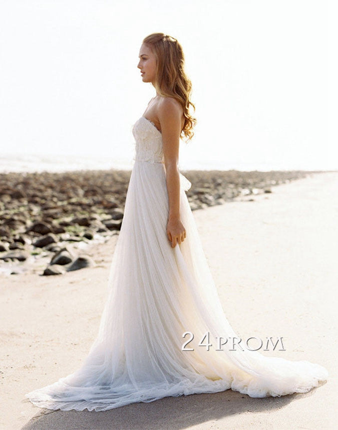Custom Made White Sweetheart Neckline Lace Wedding Dress