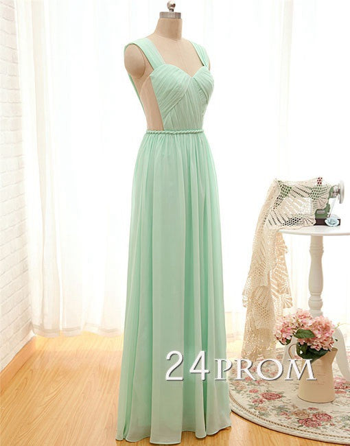 Sweetheart Neck A-line Light Green Long Prom Dresses, Evening Dress