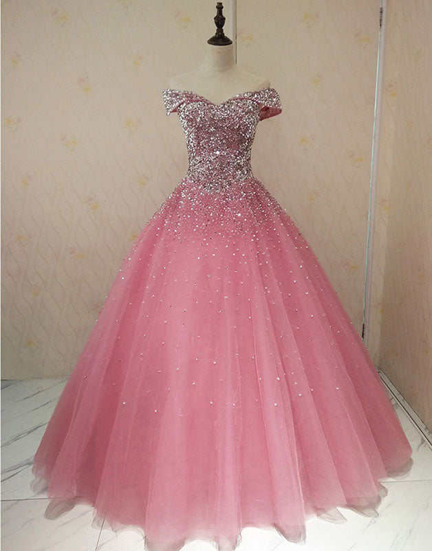 Pink sweetheart neck tulle sequin long prom dress, sweet 16 dress