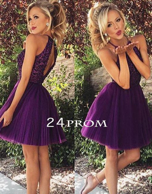 Purple sequin Tulle Short Prom Dress, Homecoming Dresse