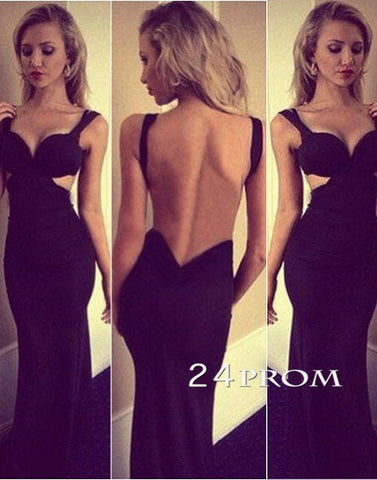 Black Chiffon Backless Long Prom Dresses, Formal Dresses