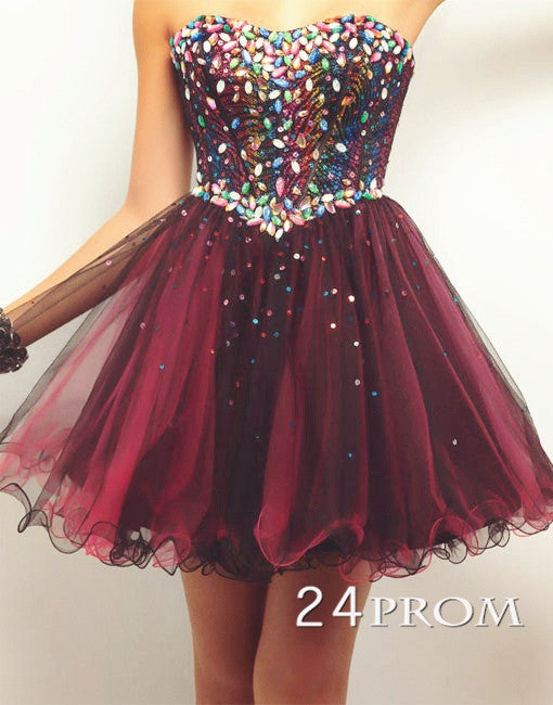 Custom Made Sweetheart A-line Tulle Short Prom Dress,Homecoming Dresses
