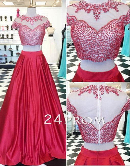 Red 2 Pieces Beaded Long Prom Dresses, Formal Dress
