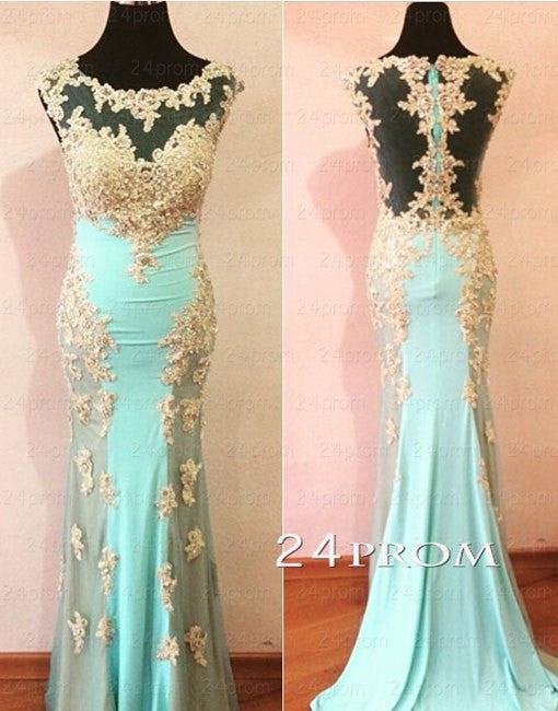 Light Green Lace Round Neck Long Prom Dresses, Lace Evening Dresses