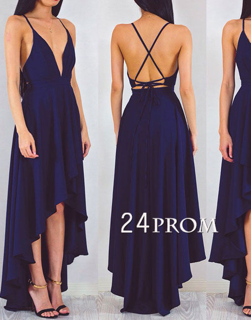 Simple dark blue backless long prom dress, evening dress