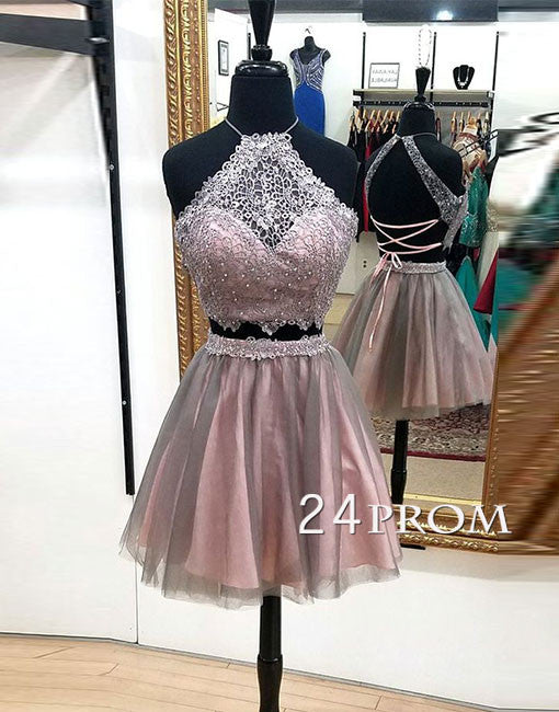 Custom made two pieces lace short prom dress, homecoming dress