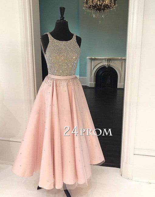 Cute round neck sequin pink prom dress, pink evening dress