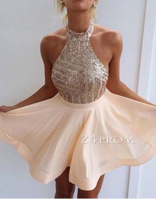 Cute A-line chiffon sequin short prom dress, homecoming dress