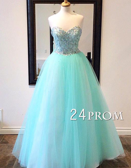 Sweetheart neck sequin tulle green long prom dress, evening dress