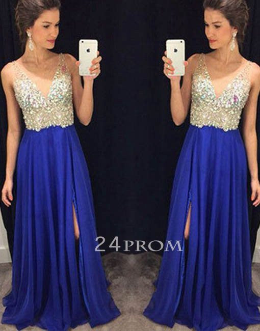 Blue V neckline Chiffon Long Prom Dresses, Evening Dress