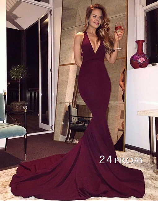 Burgundy v neck chiffon long prom dress, evening dress