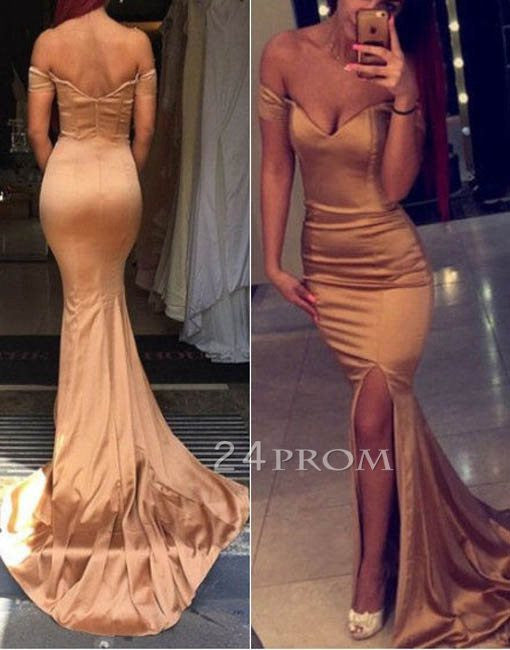 Champagne sweetheart mermaid long prom dress, evening dress
