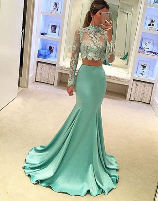 Green Mermaid style two pieces lace long prom dress, evening dress